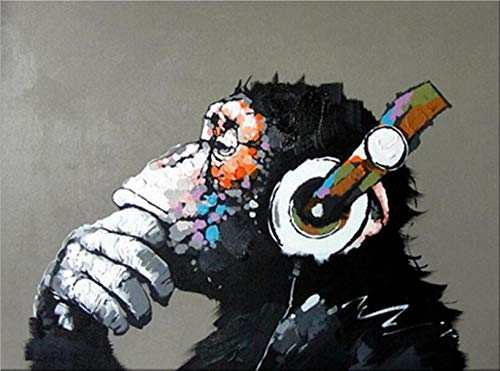 Pintar por Numeros Adultos Niños, DIY Pintura, Usando auriculares mono - Con Marco de Madera - 40x50cm