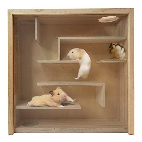 Hamiledyi Wooden Small Animal Maze Hamster Playground with Coverplate Multi-Chamber Mice House Gerbils Tunnel Exploring Toys for Mouse Lemmings Rats and Other Small Rodents