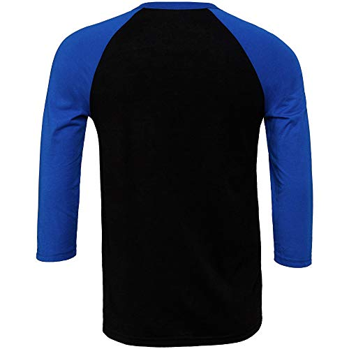 Bella+Canvas Canvas Herren Baseball T-Shirt, 3/4-Ärmel (M) (Schwarz/Royal)