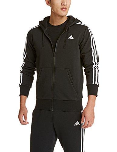 adidas Herren S98786 Essentials 3-Stripes Full Zip Kapuzenjacke, Schwarz (Black/White), M