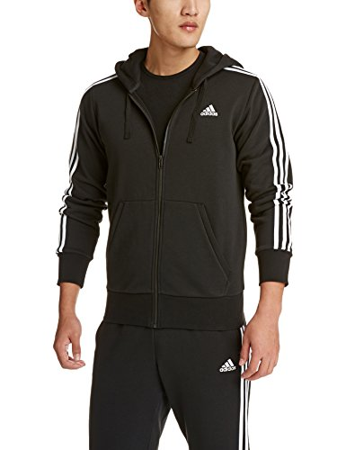 adidas Herren S98786 Essentials 3-Stripes Full Zip Kapuzenjacke, Schwarz (Black/White), L
