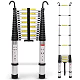 Extension Telescoping Ladder with Hook, 4.5ft/ 6.5ft/ 8.5ft/ 9.5ft/ 10.5ft/ 12.5ft/ 13.5ft/ 14.5ft/ 15.5ft/ 16.5ft/ 18ft/ 19ft/ 20ft/ 24ft Aluminum Telescopic Ladder Folding,2.9m/9.5ft
