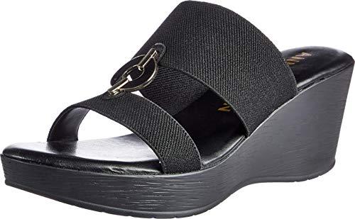 Anne Klein Hadya Wedge Sandal Black 6.5