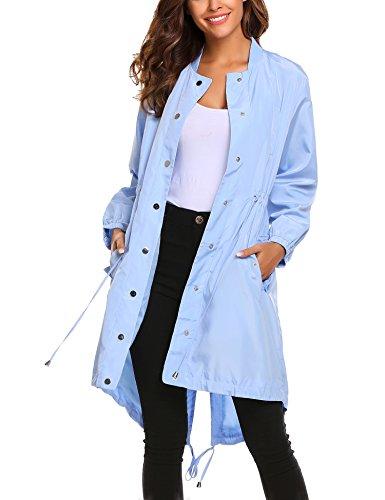 UNibelle Womens Long Waterproof Active Outdoor Rain Jacket Windproof Coat