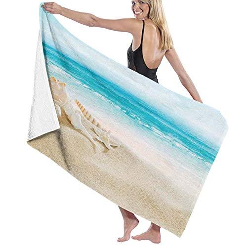 Grande Suave Ligero Microfibra Toalla de Baño Manta,Impresión de Escena de Playa Pastel de Conchas Marinas,Hoja de Baño Toalla de Playa por la Familia Hotel Viaje Nadando Deportes,52' x 32'