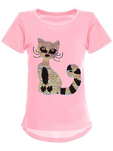 BEZLIT Mädchen Wende-Pailletten T-Shirt Katzen-Motiv Kurz-Arm 22590 Rosa Größe 164