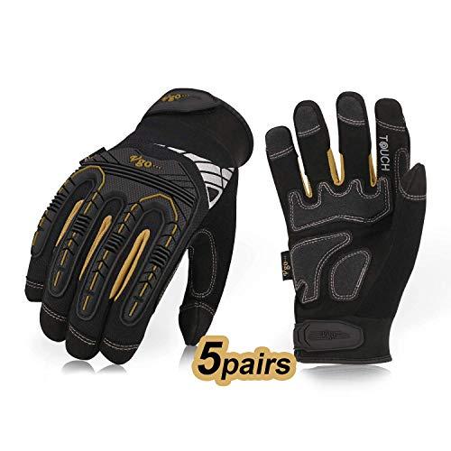 Vgo 5 Paare hohe Mechnische Arbeitshandschuhe, für große Belastungsarbeit, Vibration-Schutz-Handschuhe, Heavy Duty (10/XL, Schwarz + Gold, SL8849)