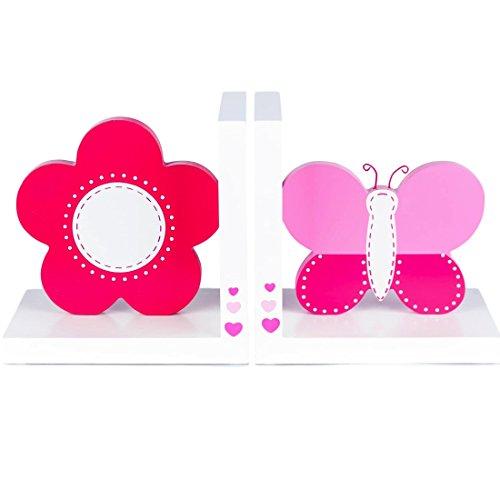 Tinkie Toys Handgefertigte Hölzerne Rosa Schmetterling und Blume Buchstützen für Kinder, Madchen, Bücherregal, Spielzimmer oder Kinderzimmer.