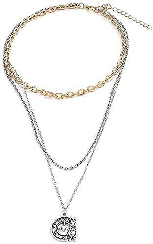 ZGYFJCH Co.,ltd Collar Collares de Moda Reloj de Conejo Multicapa Collares de Cadena Larga Vintage Colgantes de Mujer Joyería de Regalo DIY