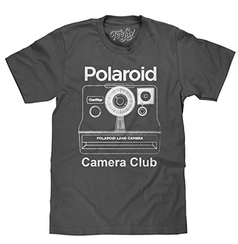 Tee Luv Polaroid T-Shirt - Polaroid OneStep Instant Camera Club Shirt (X-Large) Charcoal Heather