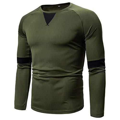 T-Shirt Herren Basic Slim Fit Rundhals Tops Langarm Muskel Hemd Herren Einfarbig Patchwork Blusen Mode Beiläufig Leichtes Atmungsaktives Shirt Sweatshirt XL