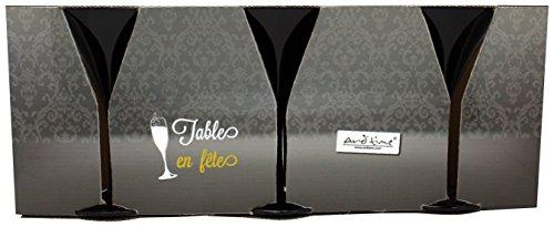 Ard'time TF-3MAR Lot de 3 Verres à Pieds Martini Noirs Foire aux Vins, 46,5 x 12,5 x 19 cm