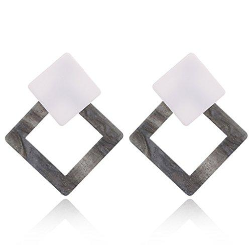 SimpleLife Tortuga Shell Resina Pendientes Cuadrados de Gota, Pendientes geométricos del Perno Prisionero para el Regalo de la joyería de Las Mujeres (1 par)