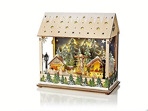 LED-Laterne Weihnachtsmarkt mit Spieluhr | We Wish You a Merry Christmas | ca 25 cm Höhe | mit sich drehender Holz-Pyramide