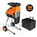 TACKLIFE Wood Chipper, 15-Amp Garden Shredder, Max 1.77-in Cutting Capacity, Compact & Light-Weight Garden Shredder, Adjustable Cutting Blade, 60L Collection Bag - TKWS01A