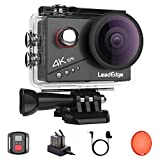 LeadEdge Action Camera 4K 20MP EIS Anti-Shake External Microphone Red Filter 2.0 IPS LCD WiFi 170° Wide-angle Remote Control Diving 131ft Waterproof Helmet Underwater Cam with 2 Rechargeable Batteries