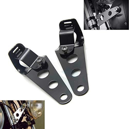 Boomersun Motorrad Scheinwerferhalter Lampenhalter Scheinwerfer Halterung schwarz Rostfreier Stahl Universal 35mm-43mm (1Paar)