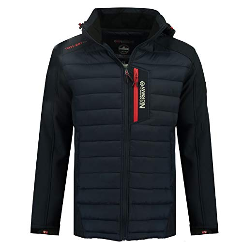 Geographical Norway Herren Jacke Softshell / Steppjacke Hybrid MIX Funktionsjacke Kapuze (XL, Navy)
