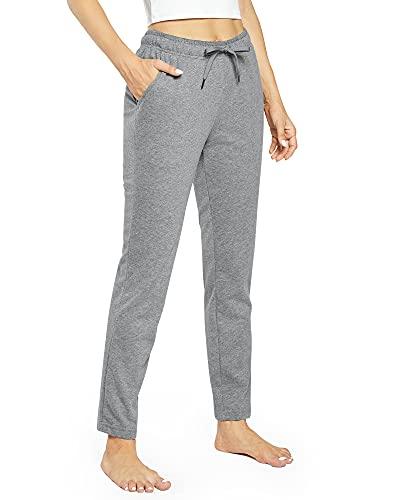 OUGES Damen Jogginghose Yoga Hose Baumwolle Sporthose Lang Freizeithose Trainingshose mit Taschen für Frauen(Grau,M)