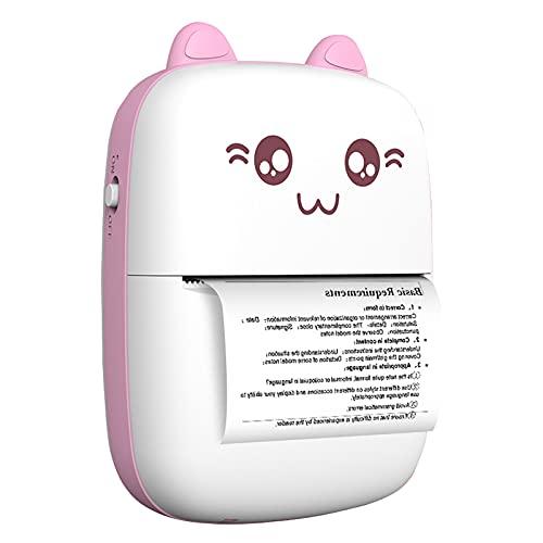 Mini impresora de bolsillo con 5 rollos de pegatinas, impresora de fotos inalámbrica Bluetooth, papel de recibo de notas de etiquetas, impresora térmica inteligente portátil para teléfonos (rosa)