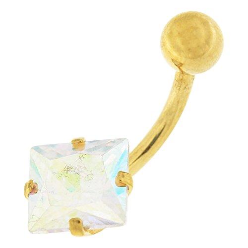 Vierkante CZ steen goud geanodiseerd 14 gauge 316 L chirurgisch stalen staaf buik piercing-sieraden