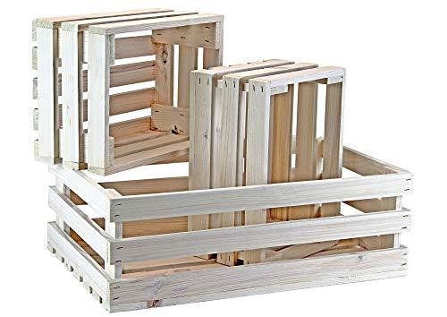 protectore 3er Set Holzkiste/Obstkiste - weiß - Weinkiste - Dekokisten - Geschenkverpackung - Weihnachten