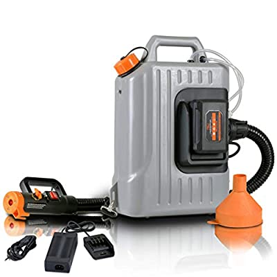 SuperHandy Fogger Machine Disinfectant Atomizer with 48V DC Lithium Ion Cordless Mist Duster Blower ULV Sprayer 2.6GAL 1-10GPH Adjustable Particle Size 0-50?m/Mm