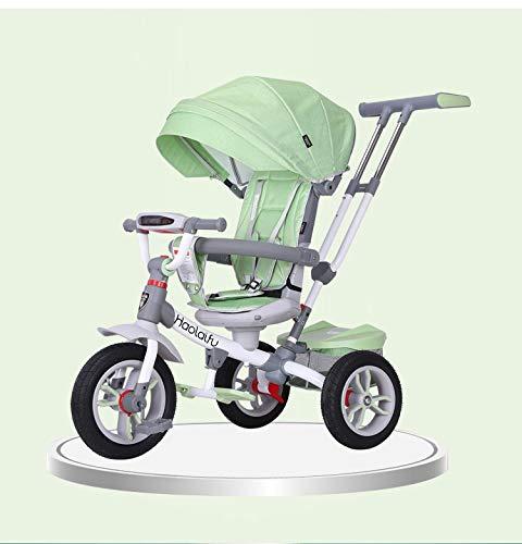 NBgy driewieler kinderzitje draaibare rugleuning driewieler 4-in-1 verstelbaar 1-6 jaar driewieler buiten, voorwiel met koppeling, 3 kleuren