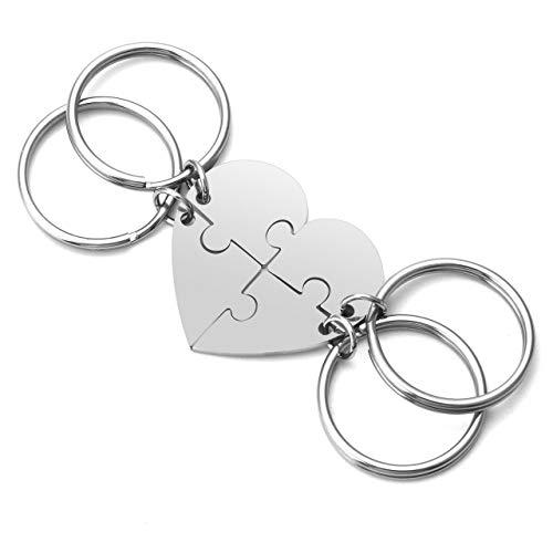 Zysta - Llavero de la amistad de 3/4 piezas personalizadas de acero inoxidable plateado con forma de corazón y puzle Paquete de 4
