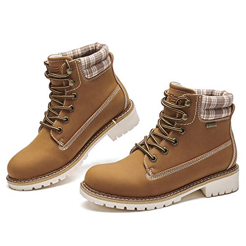 Kkyc Womens Boots Waterproof Hiking Boots Anti-Slip Ankle Boots Lace-up Casual Boots 8 M (Camel)
