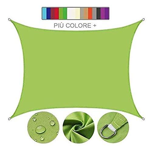 Myan Sonnensegel, rechteckig, UV-Schutz, wasserdicht, für Außenbereich, Terrasse, Garten, mehrere Farben und Größen, grün, 3 x 3 m