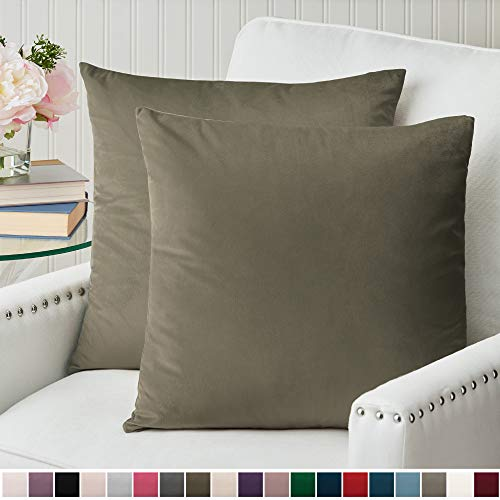 The Connecticut Home Company Luxurious Velvet Throw Pillow Cases, Set of 2 Decorative Case Sets, Square Pillow Covers, Soft Pillowcases for Living Room, Bedroom, Couch, Sofa, Bed, 18x18, Taupe
