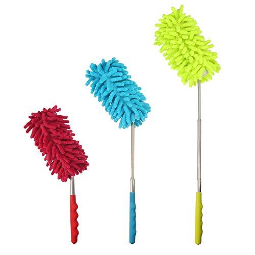 Pangda Plumeros de Microfibra Flexibles Cepillo de Limpiar Polvo con Barra Extensible, Cabeza de Plumero Lavable para Hogar Oficina Coche, 3 Juegos
