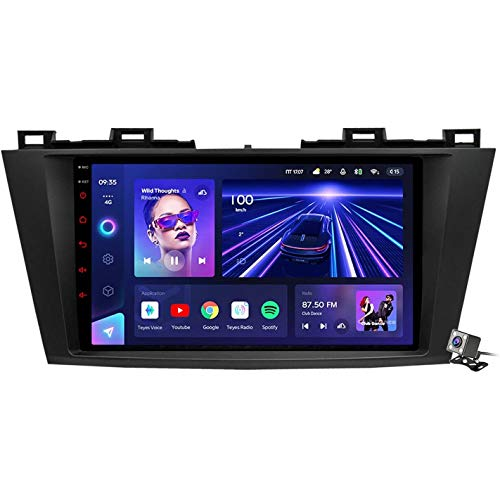 XBRMMM Android 10 Autoradio 2 DIN Car Stereo Coche GPS Navegacion para Mazda 5 2010-2015 Soporte Carplay Android Auto/Multimedia FM RDS DSP/Control Volante/Hands-Free Calls