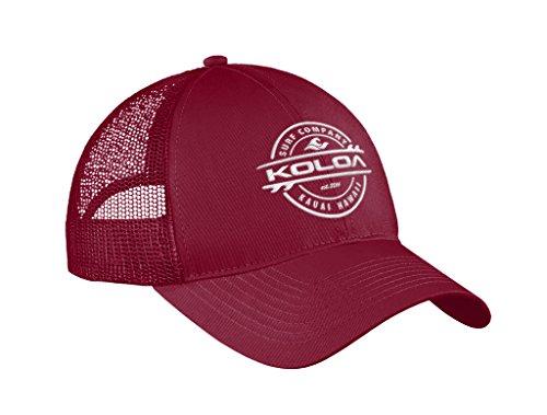 Koloa Surf Thruster Logo'Old School' Curved Bill Mesh Snapback Hat-Maroon/w