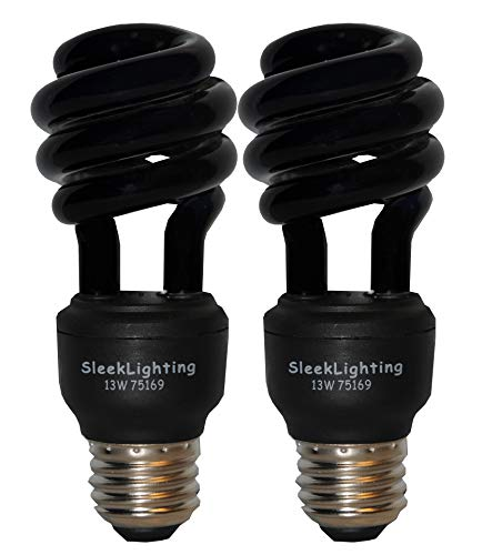 SleekLighting 13 Watt Spiral CFL Black Bug Light Bulb, 120Volt, E26 Medium Base. (Pack of 2)