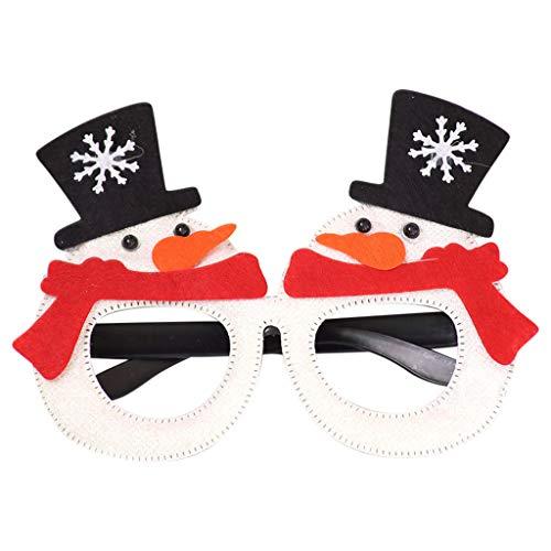 Weihnachten Lustige Brillengestell Funny Lustig Nerdbrille Rund Vintage Weihnachtsschneemann Weihnachtsbaum Cartoon Brillenfassungen Brillant Vlies Brille Rahmen Party, Club Rockabilly Streberbrille