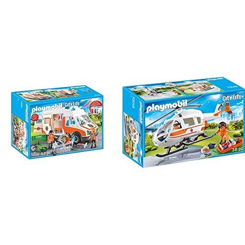 PLAYMOBIL City Life Playset, Ambulancia con Luces, Multicolor (70049) + City Life Helicóptero De Rescate, Multicolor (70048)