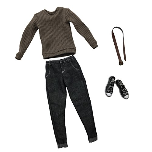 sharprepublic 1/6 Escala para Hombre Ropa Gris Claro De Punto Camiseta Pantalones Vaqueros Cinturón Zapatos De Lona