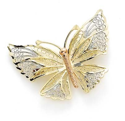 14k Tricolor Gold Butterfly Angel Wings Pin Jewelry Gifts for Women
