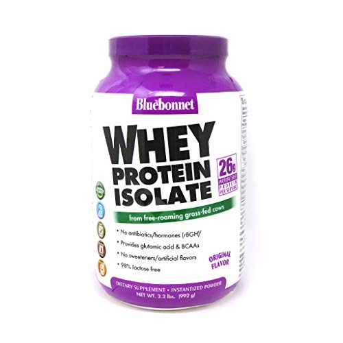 Bluebonnet Nutrition Whey Protein Isolate Powder Whey from Grass Fed Cows 26 Grams of Protein No Sugar Added Non GMO Gluten Free Soy Free Kosher Dairy 22 lbs 32 Servings Original Unflavored