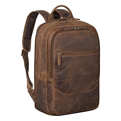 STILORD 'Reece' Business Lederrucksack Vintage Laptop Rucksack Großer Arbeitsrucksack DIN A4 Backpack XL Trolley Aufsteckbar aus Echtem Leder, Farbe:mittel - braun