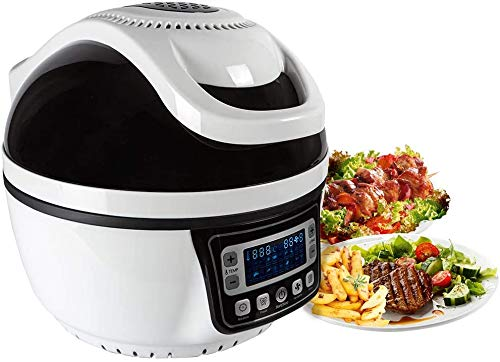 Heißluft Fritteuse 10L | 6 in 1 schwarz | Turbo Fritteuse Heissluft ohne Fett | Heizluft Fritteuse inkl. Rezepte | Alternative zur Fritteuse mit Öl