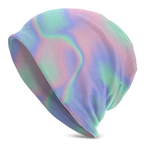Hustor Hologramm-Mütze, modisch, für Erwachsene, Strick, Heckansatz mit Totenkopf, warm, Unisex, Hip-Hop-Kappe für Männer, Frauen, Reisen, Ausflüge, Sport, Outdoor-Aktivitäten