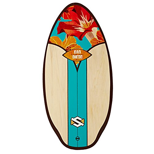 Skim One Wood - Skimboard San Diego, Colore: Acqua/Arancione/Marrone, 104 cm