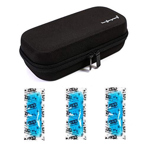Tragetasche für kühlbare Isolationsbeutel mit Temperaturanzeige EVA Hardshell Wasserdicht Medizinische Versorgung für Diabetiker mit 3 Eispackungen (Schwarz)