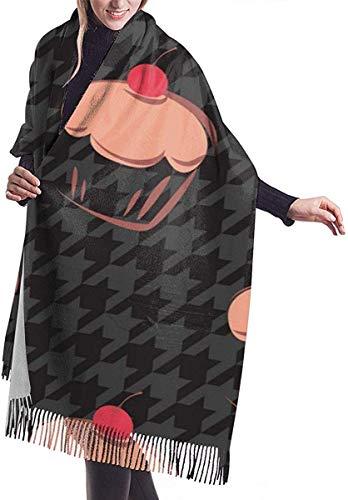 Xukmefat Bufanda para mujer con entramado a cuadros de pastel de pata de gallo, chal de cachemira de pashmina sedosa, grande y suave