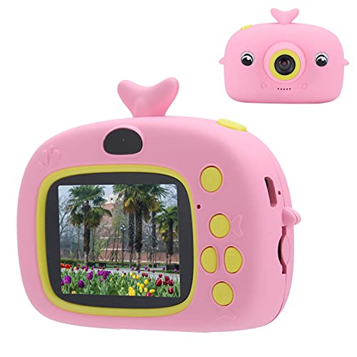 Heayzoki Cámara para Selfies para niños, Regalos de cumpleaños navideños para niños, cámaras Digitales HD de 2.0 Pulgadas, cámara de Deporte de Ejercicio SLR de Mano, Forma Linda(Rosa)