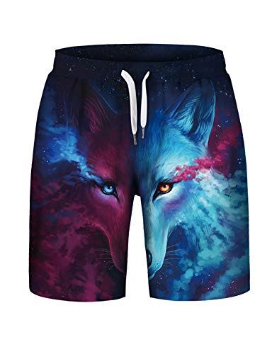 PIZOFF Men's 3D Digital Printed Wolf Pattern Summer Comfort Stretch Shorts with Pockets AM081-21-S