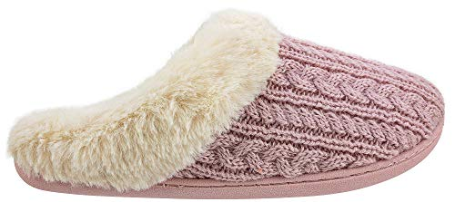IZOD Women's Slipper,Cable Knit Clog Slippers,Pink,Women's size 7-8